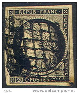 # France    3, Used, VF, Sound     (fr003-1   Michel 3y  [16-DR - 1849-1850 Ceres