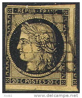 # France    3b,Used, Black & Buff, Sound,   (fr003b-2,  Michel 3x   [16-BAT - 1849-1850 Ceres