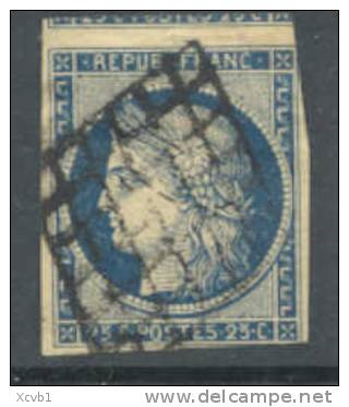# France    6b,  Used, Blue, Yellowish Paper,sound,  (fr006b-5,  Michel 4c    [16-DH - 1849-1850 Ceres