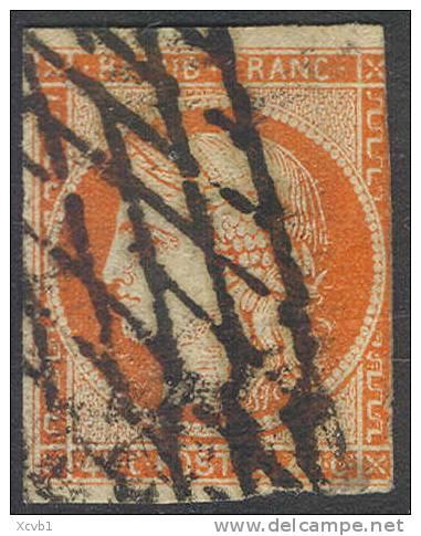 # France    7a,  Used, Orange Vermillion, RARE, Sound   (fr007a-1,  Michel 5   [16-DGE - 1849-1850 Ceres