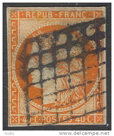 # France    7a,  Used, Orange Vermillion, RARE, Sound, 4 Mgns.  (fr007a-2,  Michel 5   [16-DGE - 1849-1850 Ceres