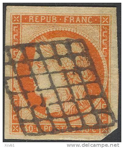 # France 7a, Used, XF, Orange Vermillion, RARE, Sound (fr007a-9, Michel 5 [16-DGE - 1849-1850 Ceres