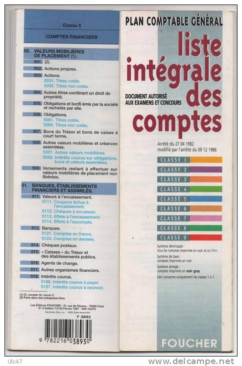 Supplies And Equipment Plan Comptable General Liste Integrale Des Comptes Edition Foucher Scan Verso