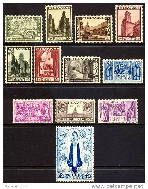 Belgium B132-143 Mint Never Hinged Orval Abbey Semi-Postal Set From 1933 - Belgium