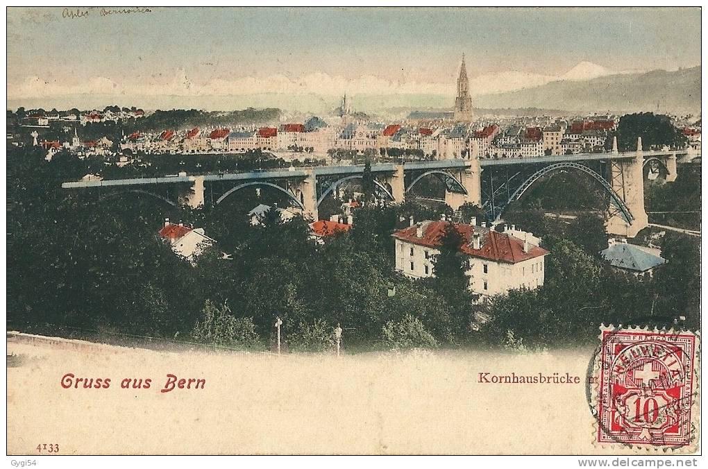 GRUSS AUS BERN  KORNHAUSBRÜCKE  CPA COLRISEE 1907 - BE Berne