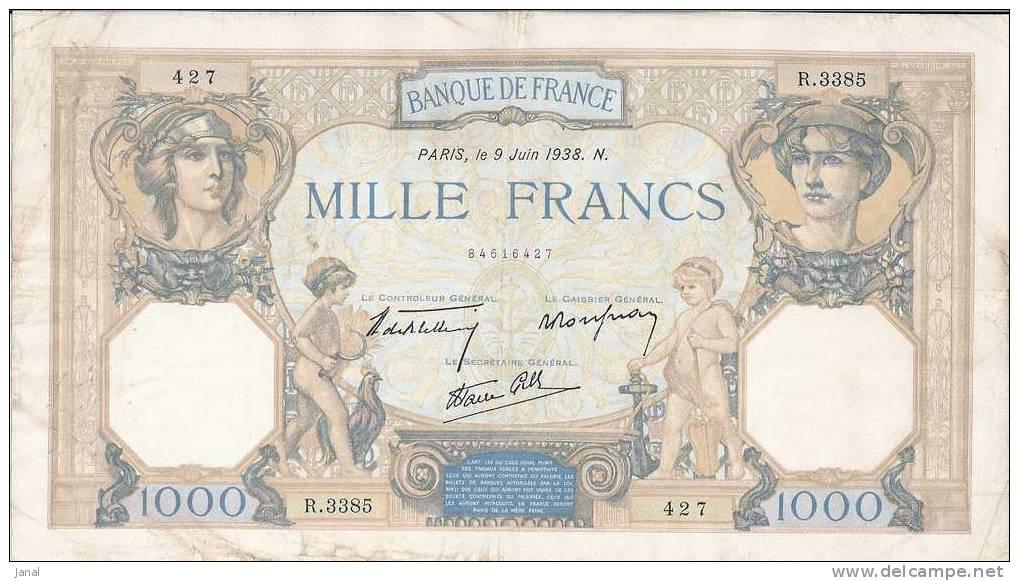- FRANCE - BILLETS - 1000 F - CERES E MERCURE - 9 JUIN 1938 - N° R. 3385 - 427 - - 1 000 F 1927-1940 ''Cérès E Mercure''
