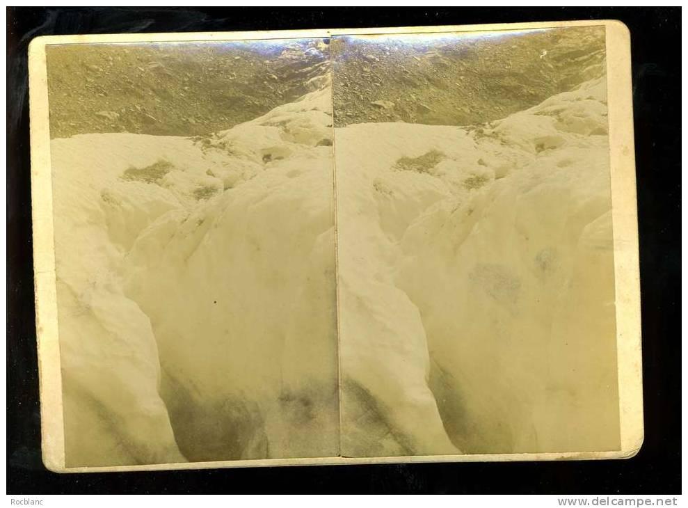 PHT4 HAUTE SAVOIE Photo Originale Fin 19 ème Siècle Format 18x13 Crevasse Au Glacier Des Bossons - Photos Stéréoscopiques