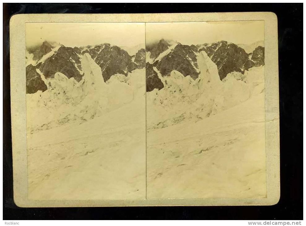 PHT4 HAUTE SAVOIE Photo Originale Datée  1903 Chamonix Vue De Séracs Prise Aux Grands Mulets - Photos Stéréoscopiques