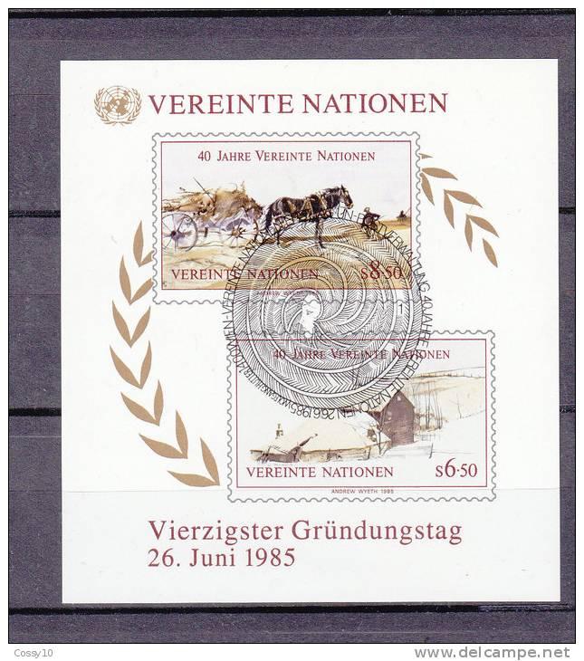 NATIONS  UNIES  VIENNE  BLOC  N° 2   1985   OBLITERE    CATALOGUE YVERT - Centre International De Vienne