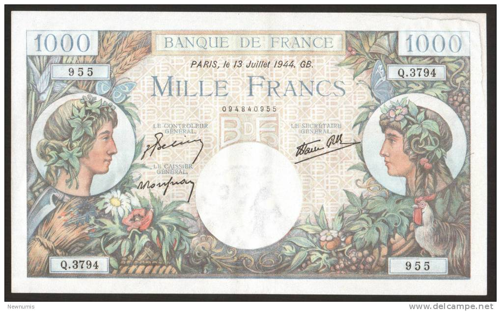 FRANCE - BANQUE De FRANCE - Lot Of 3 X 1000 FRANCS COMMERCE ET INDUSTRIE NUMEROS QUI SE SUIVENT 13 - JUILLET - 1944 GB. - 1 000 F 1940-1944 ''Commerce Et Industrie''