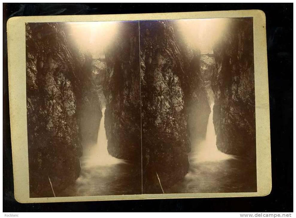 PHT4 HAUTE SAVOIE Photo Originale Datée  1903 Gorges De La Diosaz Cascade Du Soufflet - Photos Stéréoscopiques