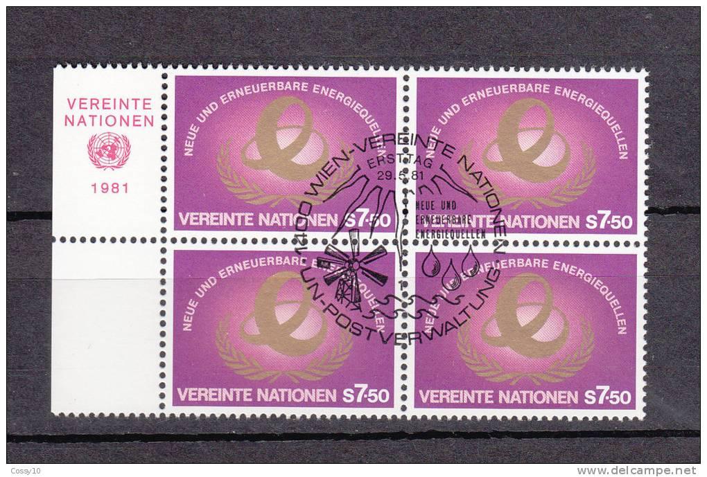 NATIONS  UNIES  VIENNE BLOC DE 4  1981     N° 20   OBLITERE       CATALOGUE YVERT - Oblitérés