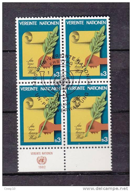 NATIONS  UNIES  VIENNE   BLOC DE 4 1982 N°  23  OBLITERE   CATALOGUE YVERT - Centre International De Vienne