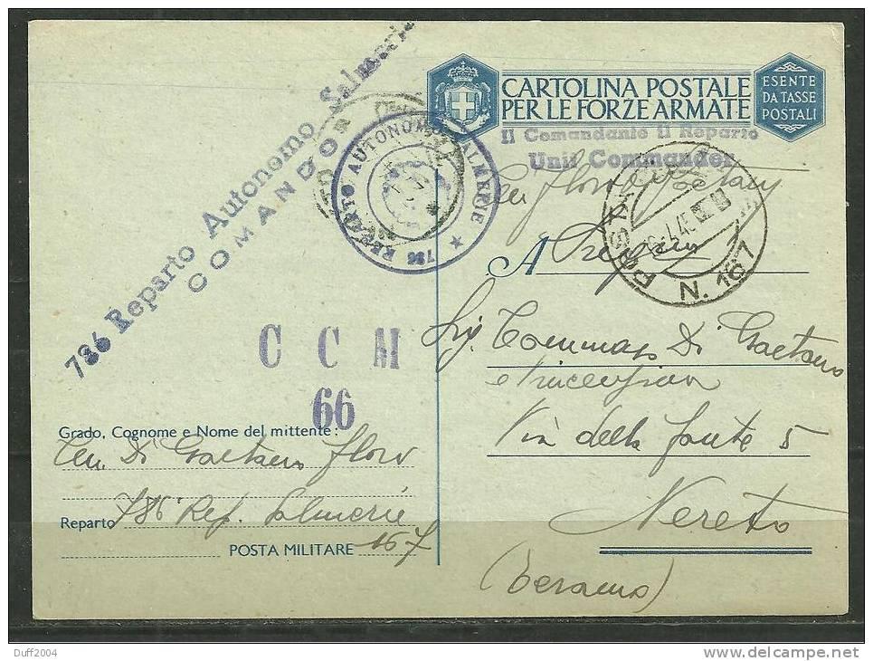 ITALIA - POSTA MILITARE - DA P.M. 167 A NERETO - 12.4.1945 ( P.7 ). - 1900-44 Vittorio Emanuele III
