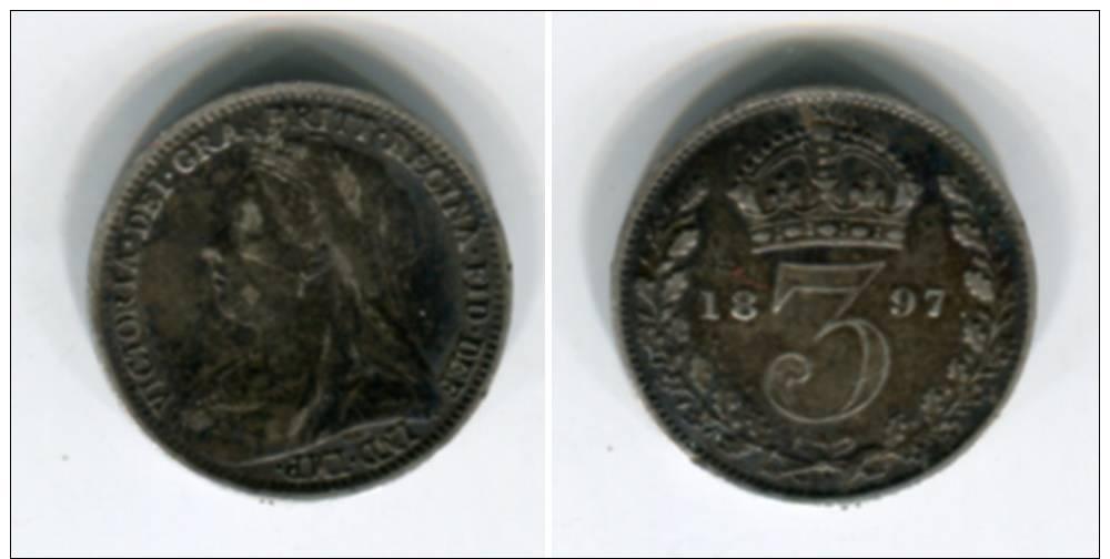 [9948] Angleterre : Three Pence 1897 Argent (légèrement Voilée) - 1902-1971 : Post-Victorian Coins