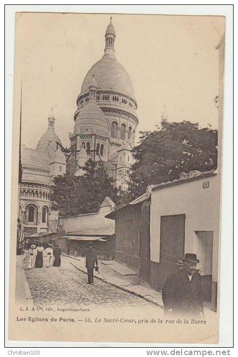 RUE DE LA BARRE ET LE SACRE-COEUR - CPA - EDITIONL.J. & Cie - - Arrondissement: 18