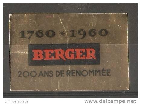 VIGNETTE (POSTER STAMP) - 1960 BERGER (1760-1960 200 ANS De RENOMMEE) - Advertising