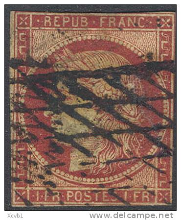 # France    9, Used, RARE, Close Cut ,  (fr009-1,  Michel 7  [16-HTY - 1849-1850 Ceres