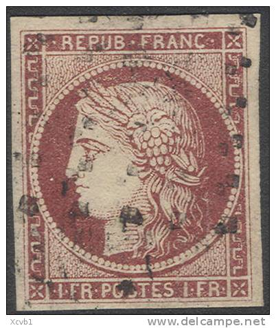 # France 9c, Used, VF, Sound, RARE,Dark Carmine (fr009c-15, Michel 7 [16-AAET - 1849-1850 Ceres