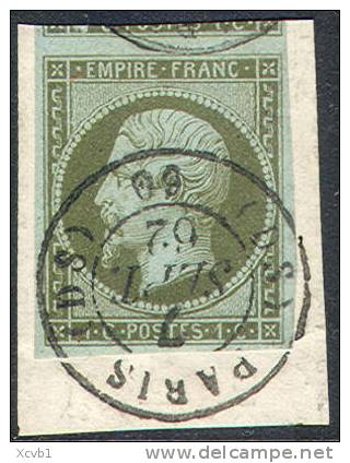 # France   12,  Used,  VF+ Sound,tied To Piece  (fr012-6,  Michel 9   [16-HT - 1853-1860 Napoleon III