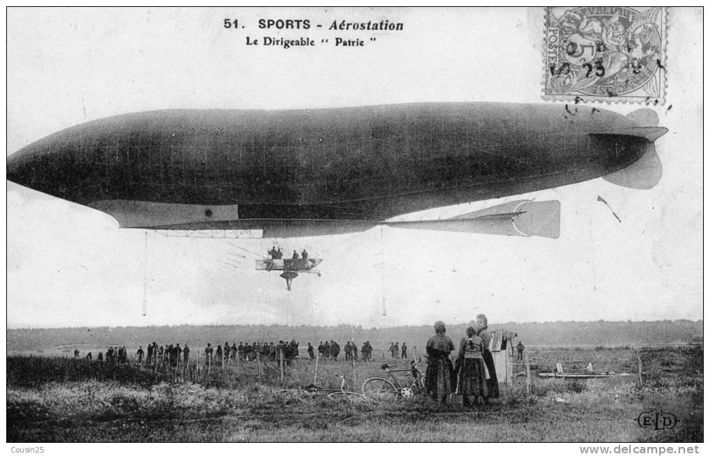 """THEMES SPORTS - Aérostation - Le Dirigeable """"Patrie"""" - Aviron"""