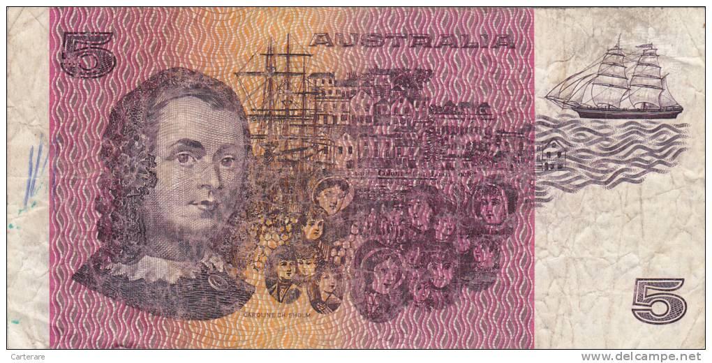 BILLET BANQUE AUSTRALIE,BANK AUSTRALIA,5  DOLLARS,FIVE,1979,numéro PPG 981514 - Unclassified
