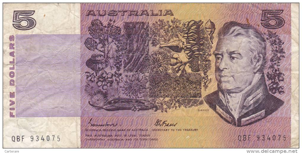 BILLET BANQUE AUSTRALIE,BANK AUSTRALIA,5  DOLLARS,FIVE,1979,numéro QBF 934075 - 1974-94 Australia Reserve Bank (paper Notes)