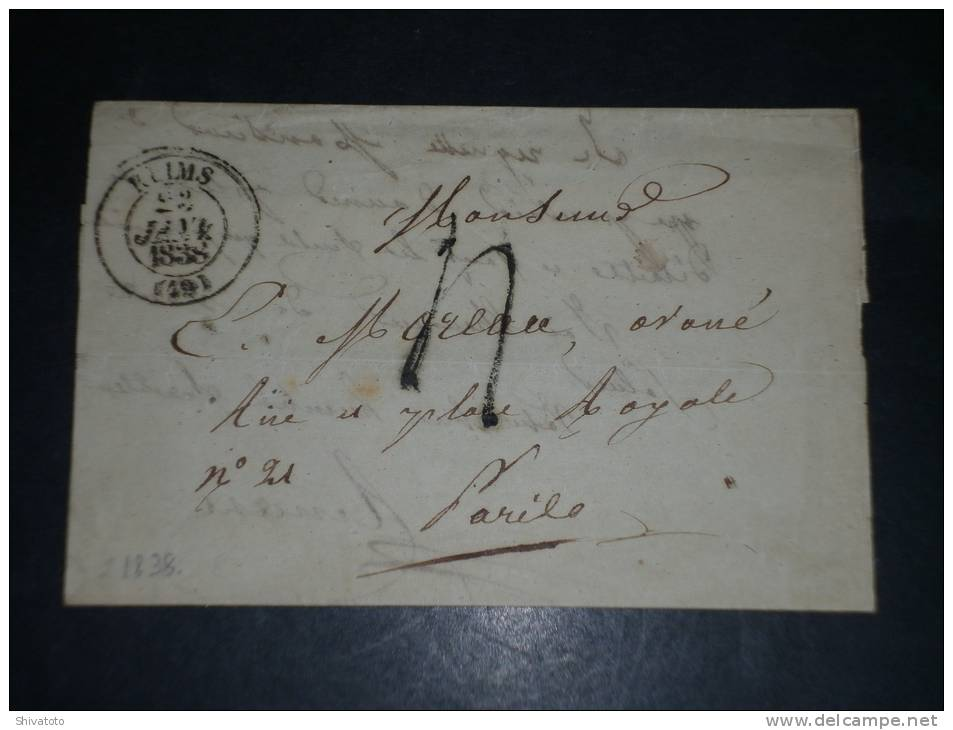 (2472) France Old Stampless Cover Reims Paris 1838 - Marcofilia (sobres)
