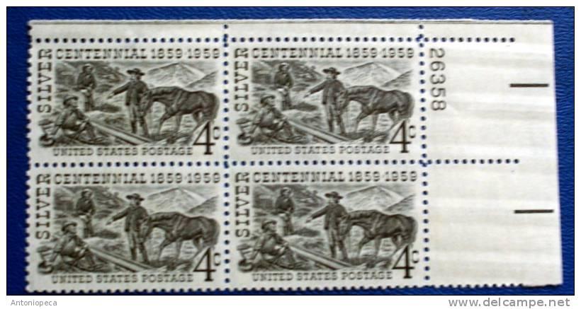 USA 1959 SILVER CENTENNIAL  BLOCK MNH** - Blocchi & Foglietti