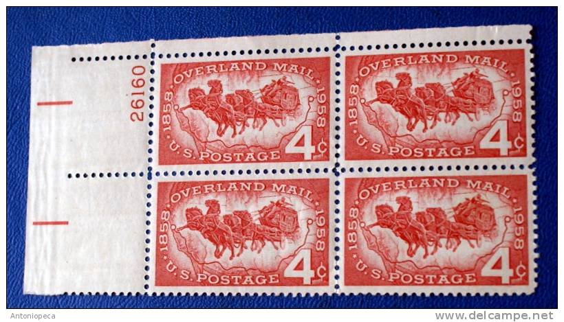 USA 1958 OVERLAND MAIL CENTENARY  BLOCK MNH** - Blocchi & Foglietti