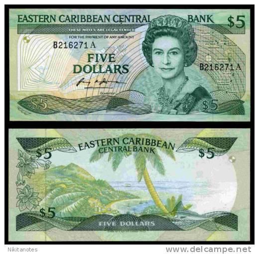 Antigua. $5. B216271A. (1988). Uncirculated. - Caraïbes Orientales