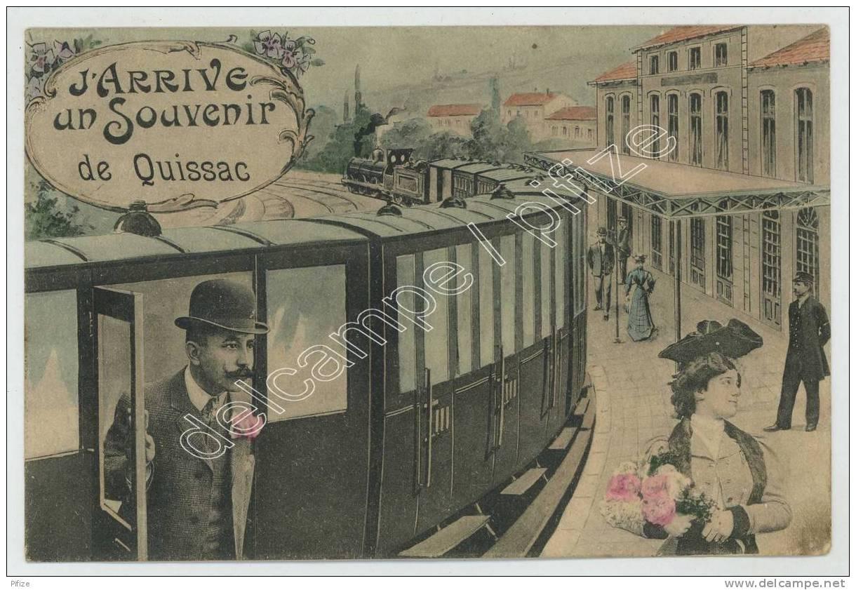 Un Souvenir De Quissac. Train En Gare. - Quissac