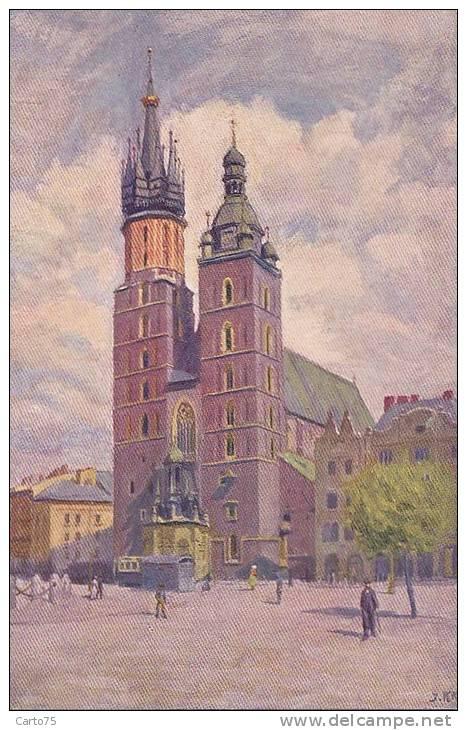 Pologne - Krakow - Marien Kirche - Illustration - Pologne