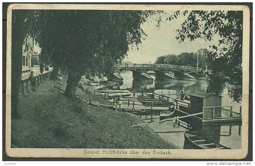 Estonia Estonie Estland Tartu Dorpat Embach Holzbrücke Wood Bridge Ca 1920 - Estonie