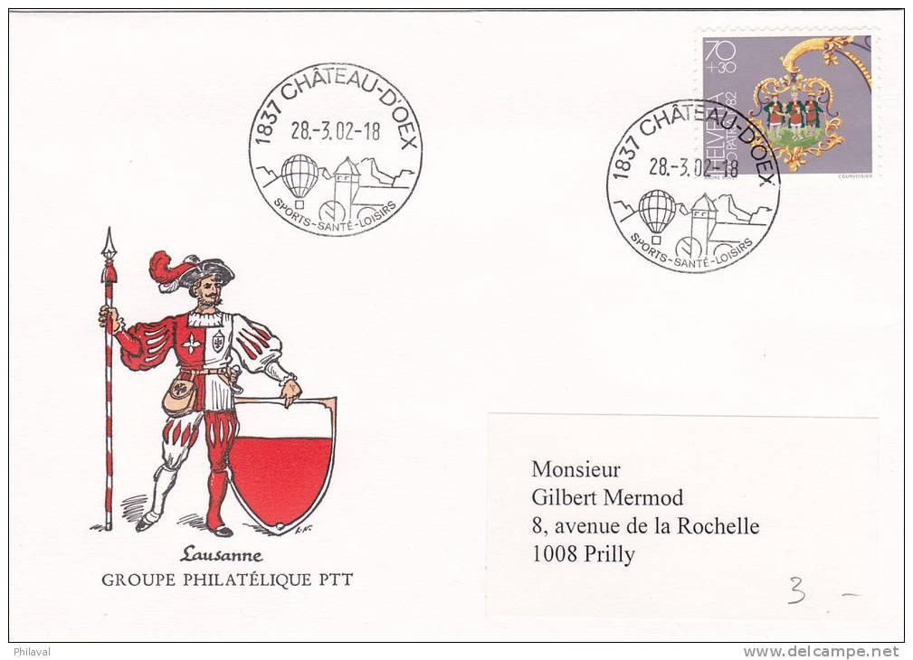 Superbe Oblitération De Château D'Oex Sur Lettre Du Groupe Philatélique PTT De Lausanne - 28.3.02 - No B196 - Lettres & Documents