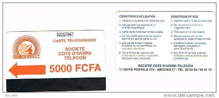 COSTA D'AVORIO  (IVORY COAST)  - CI TELCOM (AUTELCA) - 1994 ORANGE LOGO 5000   - USED  -  RIF. 515 - Costa D'Avorio