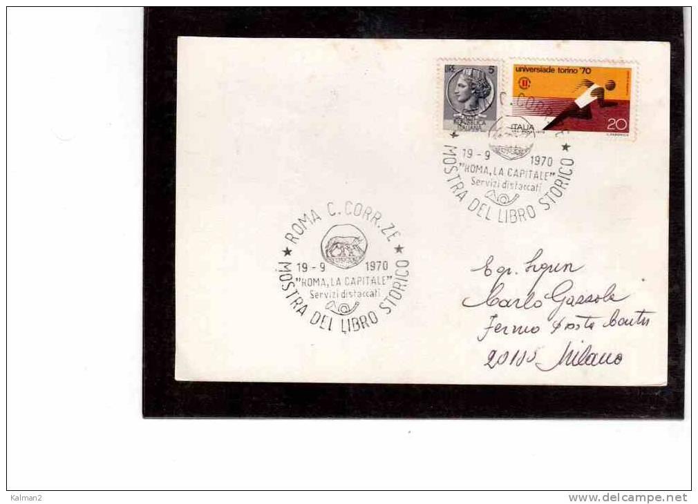 """TEM175  -  ANNULLO  """" MOSTRA DEL LIBRO STORICO """"  -    ROMA  19.9.1970 - History"""