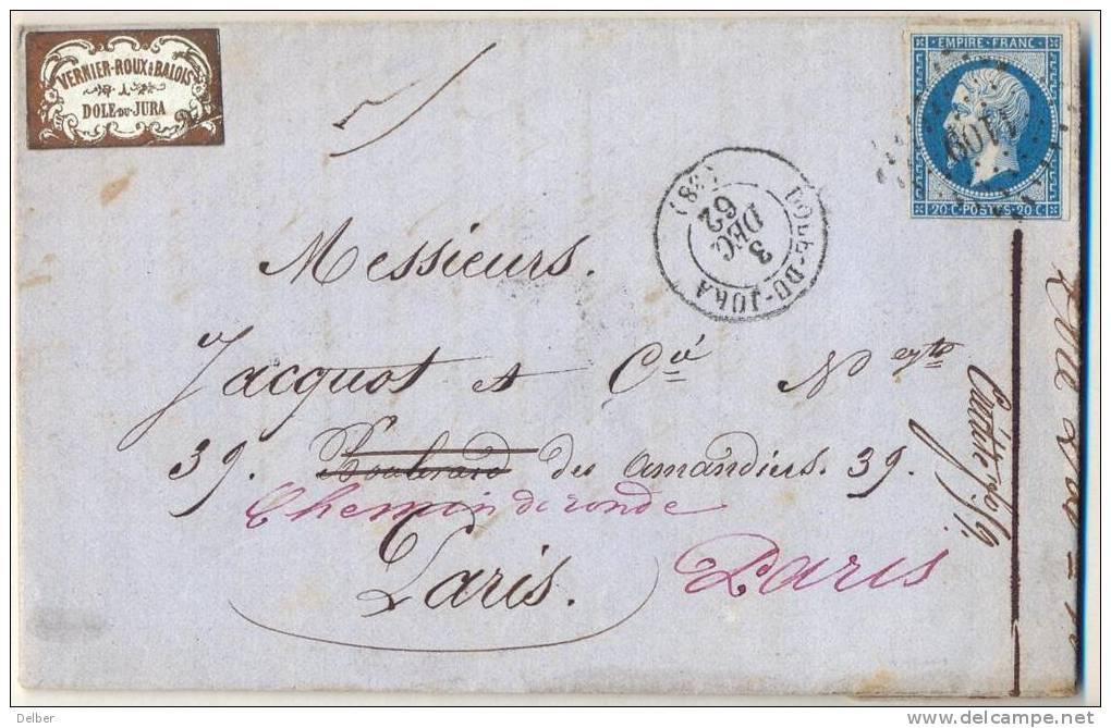 _Np067: N° 14:  1109: DOLE-DU-JURA > PARIS >> PARIS - 1862 Napoléon III