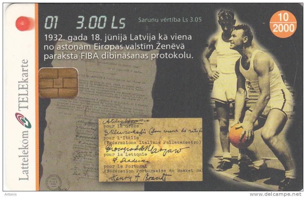 LATVIA - Basketball 1, Tirage 35000, Exp.date 10/99, Used - Lettonia