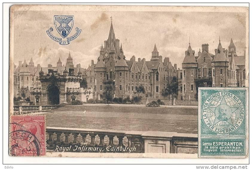 -Royal Infirmary EDINBURGH - Erinnophilie  -Espéranto - Rare  - TB  Carte Sale  Au Dos - Midlothian/ Edinburgh