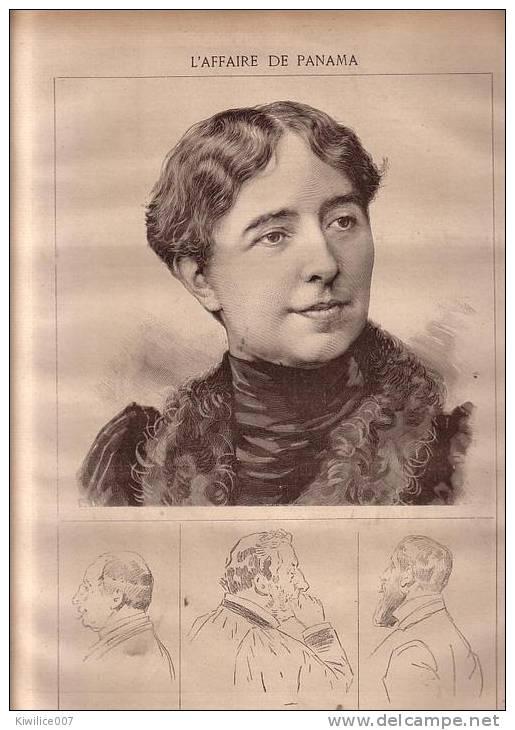Dessin 1893 ...l Affaire De Panama Mme Cottu  +   Gravure Le Baiser De Judas  Par Titien - Non Classés