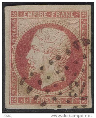 # France 21, Used, XF, Sound, RARE, (fr021-7, Michel 17 Karmine, [16-CBET - 1853-1860 Napoleon III