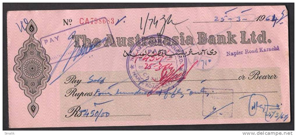 PAKISTAN Old Cheque Of The Australasia Bank Ltd. Napier Road KARACHI 25-3-1964 - Bank & Insurance