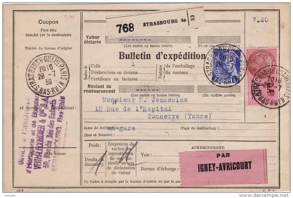 5141# MERCURE CERES / COLIS POSTAL Obl STRASBOURG QUAI DE PARIS BAS RHIN 1939 TONNERRE YONNE IGNEY AVRICOURT - Marcophilie (Lettres)
