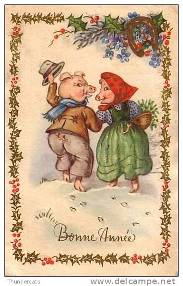 CPA DESSIN ILLUSTRATEUR COCHON COCHONS ** ARTIST DRAWN CARD PIG PIGS  ** COLOPRINT - Cochons