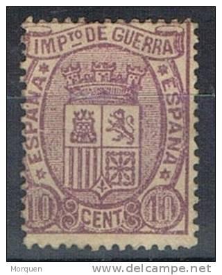 Sello 10 Cts Lila 1875, Impuesto Guerra, VARIEDAD Salto Peine, Num 155 * - Impuestos De Guerra