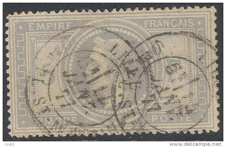 # France 37d, Used, 4 Mgns, Sound , 5 &F Light Blue, RARE (fr037-18, Michel 32 [16-AATY - 1863-1870 Napoleon III With Laurels