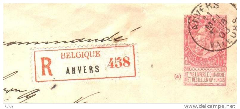 XL-364   PW  ANVERS VALEURS Met Bijfrankering Voor Aangetekende Zending Naar  WIESBADEN-DUITSLAND - 1893-1900 Schmaler Bart