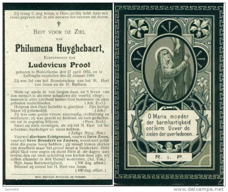 Doodsprentje Philomena Huyghebaert - Middelkerke 1855 - Leffinghe 1909 - Religion & Esotérisme