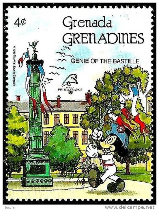 Granada Granadinas 1989 Scott 1060 Sello ** Walt Disney La Bastilla Génie De La Bastille Paris Mickey 4c Grenada Grenadi - Disney